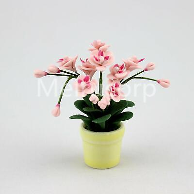 Dollhouse Miniature Potted Orchid Pink Flowering Plant in Yellow Pot 1:12 Scale