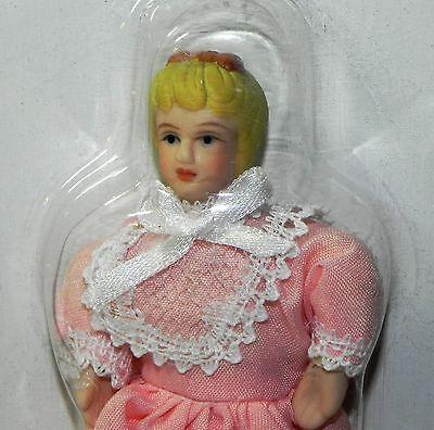 Dollhouse Miniature Doll Girl Sister Peach Dress Porcelain 1:12 Scale