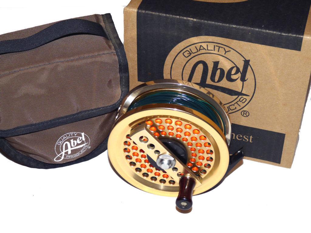 ABEL 4.5 antireverse Salt Water Fly Reel LHW con Case & Box & Linea