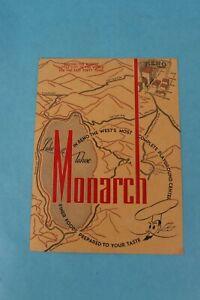 VINTAGE 1948 MONARCH SOUVENIR RESTAURANT DINNER MENU RENO, NEVADA