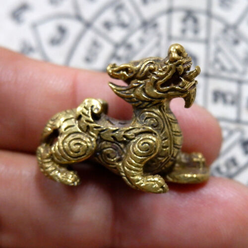 Brass Lucky Animal Pi Xiu Lion Dragon Hunting Money Wealth Talisman Lucky Fetish