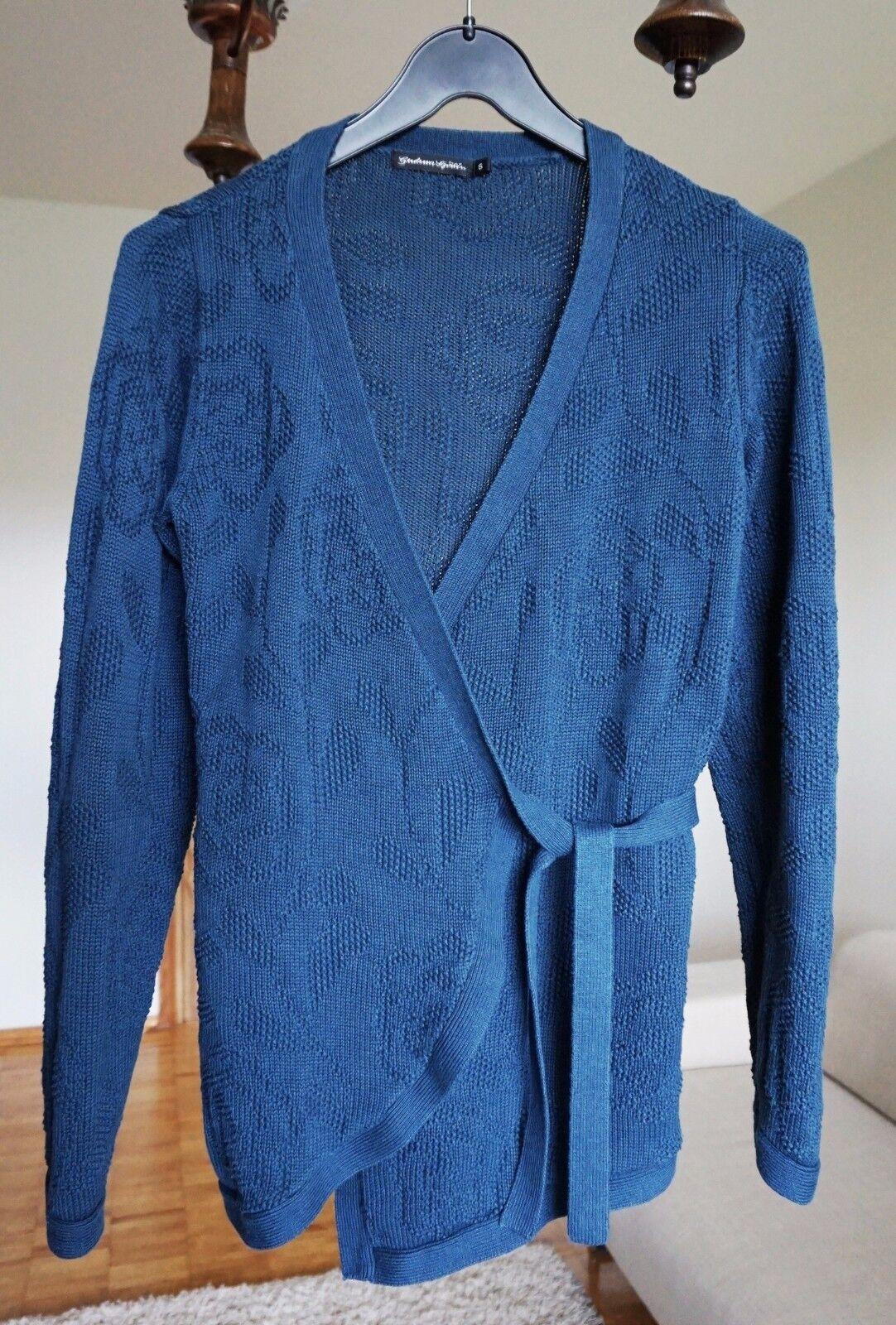 GUDRUN SJODEN Long Sleeve WOOL+Cotton Blend Tie-Up Wrap Sweater Cardigan size S