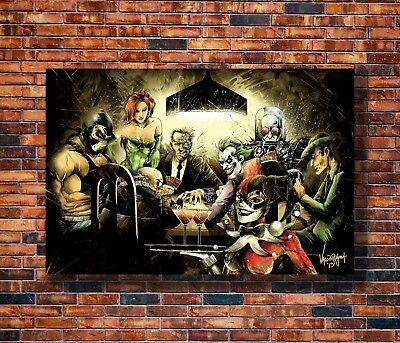 Hot Fabric Poster Joker Harley Quin Playing Poker Funny Batman DC 40x27inch Z269