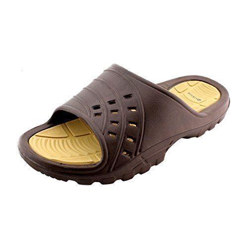 eac2de4f5 Kaiback Mens Brown Simple Slide Shower Sandal Sandal Sandal 00c170 ...