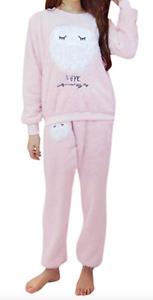 Damen Mädchen Pyjama Eule Motiv Schlafanzug T-Shirt Nachthemd Nachtkleid Kurzarm
