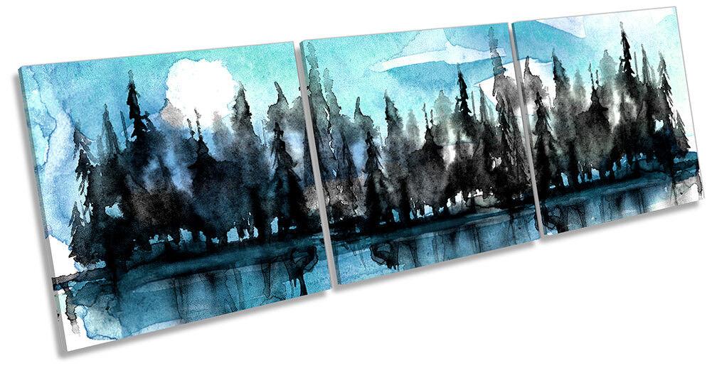 Lienzo Enmarcado Enmarcado Lienzo río bosque árboles Acuarela impresión Triple Pa rojo  Arte 56683c