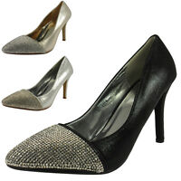 NEW WOMENS LADIES STYLISH HIGH STILETTO HEEL PARTY COURT SHOES HEELS SIZE 3-8 UK