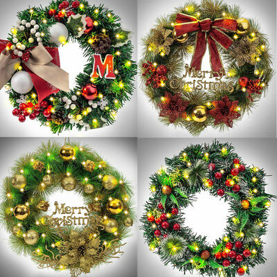 Hanging Christmas Decorations.Bowknot Hanging Christmas Wreath Decoration For Xmas Party Door Garland Ornament Ebay