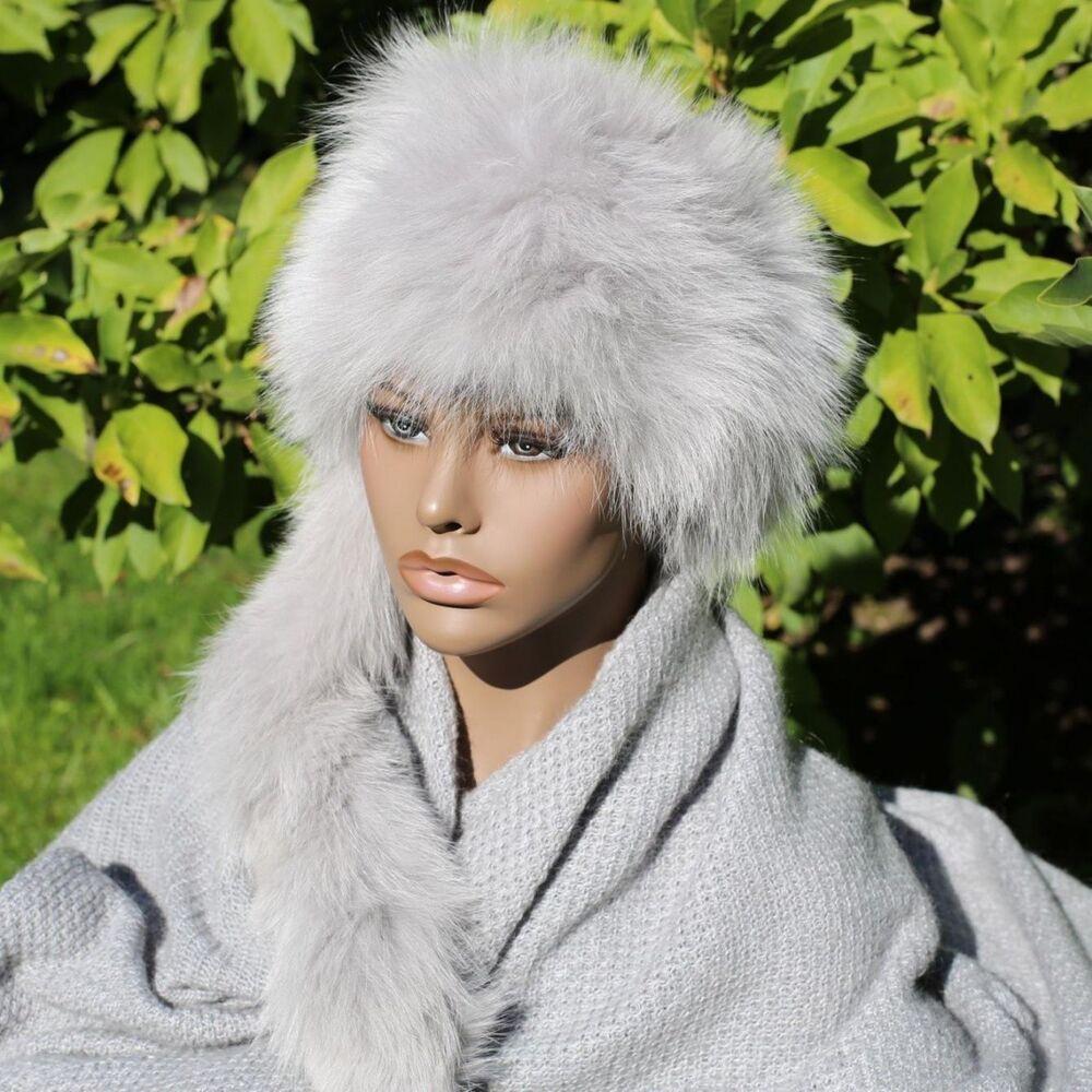 Candide Bonnet En Fourrure - Trapper Fuchs Modèle 08 Femmes D'hiver Russe Gris