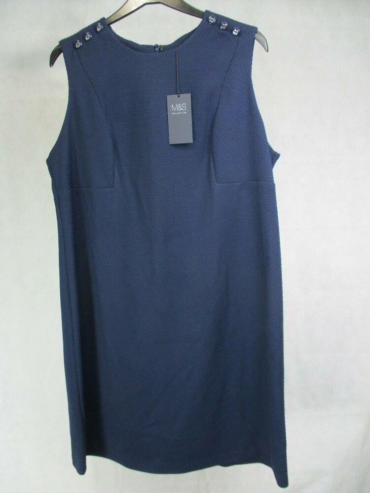 Marks And Spencer Foncé Bleu Nuit Sans Manches Miami Robe Uk 20 Eur 48 Bnwt