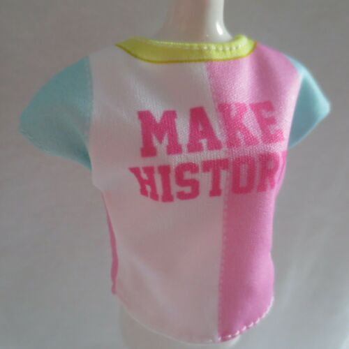 """2019 Barbie Fashionista Doll /""""Make History/"""" Pink Blue Yellow Top ~ Clothing NEW"""