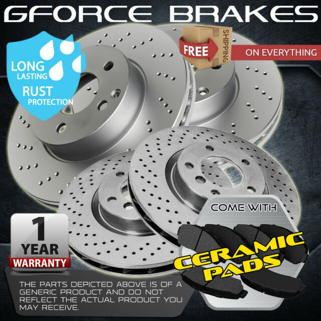 For Mitsubishi Lancer Front Black Drill Slot Brake Rotors+Ceramic Brake Pads
