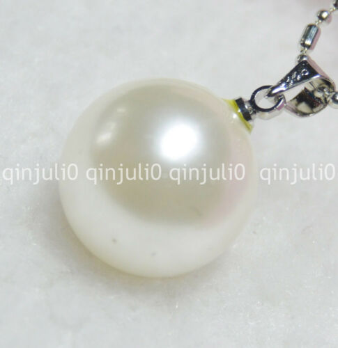 16mm White Shell Pearl Pendant Necklaces 17inches JN621 Charming