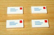LEGO 10 x Kachel Fliese 1x2 bedruckt Brief Umschlag weiß mail envelope 3069bp01