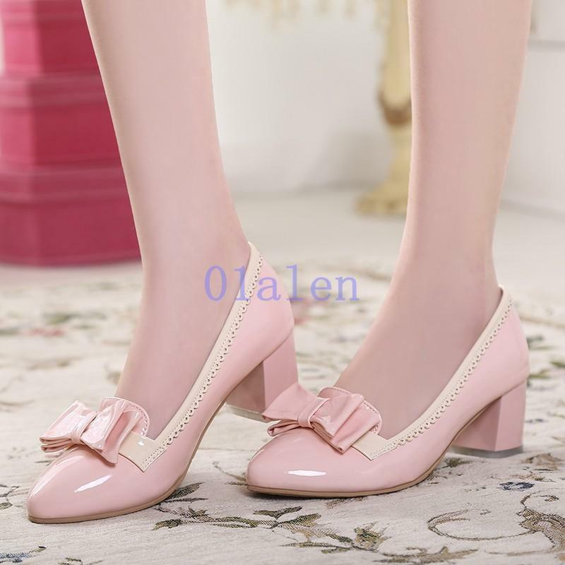 Womens Bowknots Block Heels Buckle Ankle Strap Lolita Party shoes Sweet Sandals