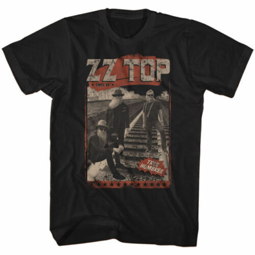 Hombres Men/'s Black T-Shirt US IMPORT Official ZZ TOP