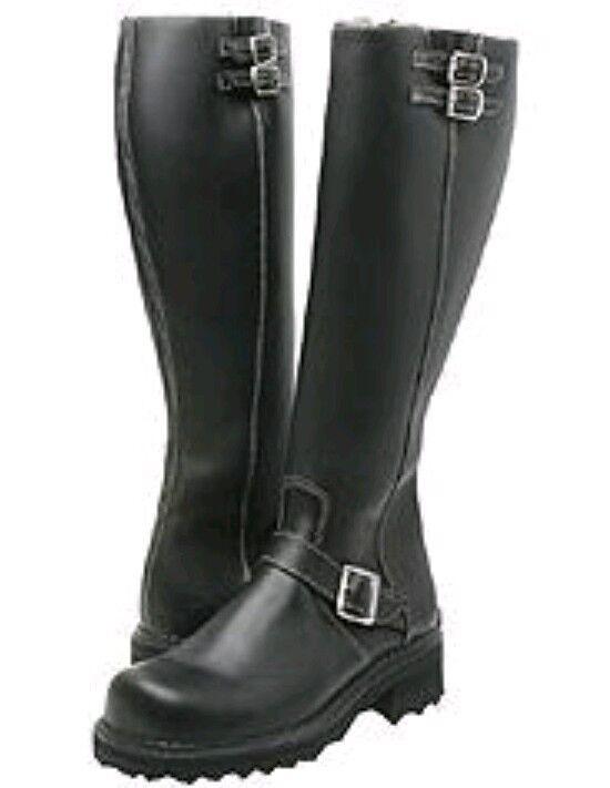 339 John Fluevog Bondgirl Negro Cuero Cuero Cuero Moto botas de EE. UU. 10  tienda de descuento