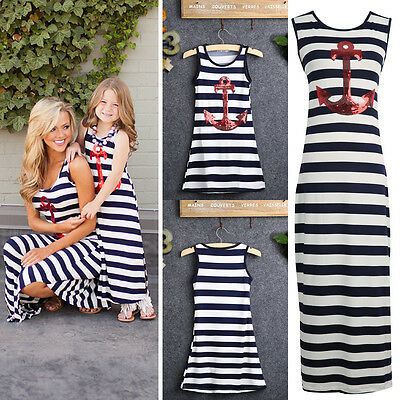 Mother and Daughter Casual Boho Stripe Maxi Dress mommy me matching set outfits