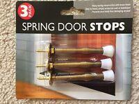 Set Of 3 Spring Door Stop Brass Finish Wall Door Guards