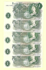 English Banknote 5 x £1 Note - ONE POUND - J Page - aUNC 5  Notes