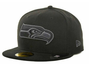 Official Seattle Seahawks New Era NFL Black Gray Basic 59FIFTY ... c718d7c51
