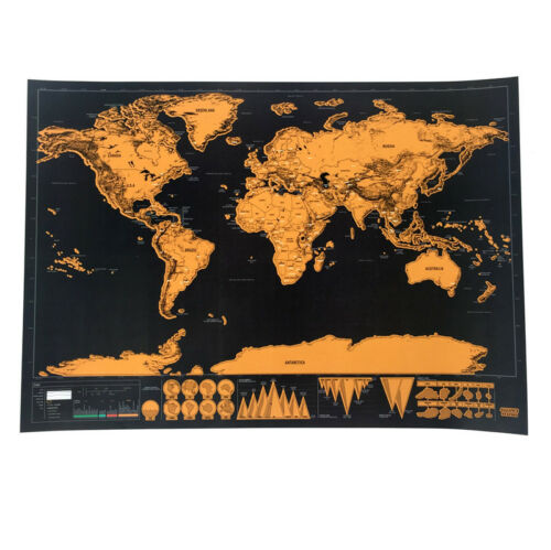 Deluxe World Travel Scratch Off Map 83x60cm or 42x30cm Holiday Poster Wall Paper