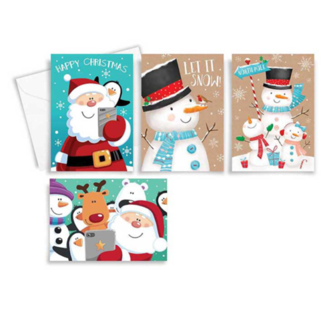 Cute Christmas Cards.Tallon 10 Rectangle Cute Christmas Cards Kraft Snowman 4 Asst Design 8494
