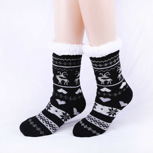 New Ladies Warm Thermal Fleece Socks Sherpa Lining Lounge Slipper Bed Socks