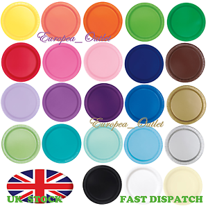 Image is loading 9-034-ROUND-SOLID-COLOURED-PAPER-PLATES-Wedding-  sc 1 st  eBay & 9\