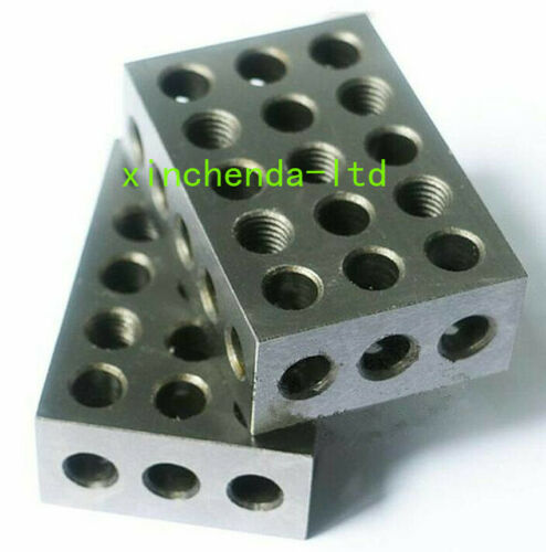 "2pc Mill machine vise parallel block steel HRC55-62 25-50-75mm 23 holes ±0.0002/"""