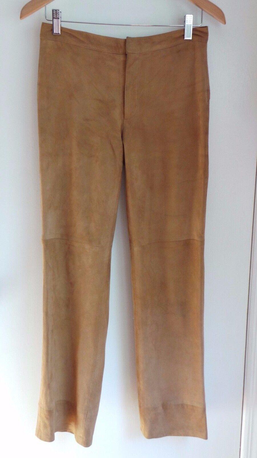 SUEDE PANTS tan light brown BRUUNS BAZAAR tan Goatskin Euro Sz 36 US 4-6 Lined