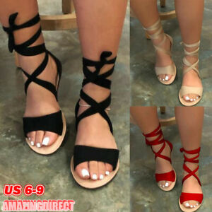 Women Soft Gladiator Slingback Sandals Beach Casual Summer Espadrille Shoes Flat Sandals Beach Shoes