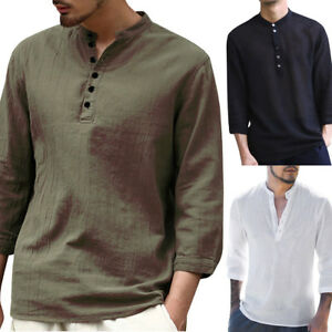 Mens-Summer-T-Shirt-3-4-Sleeve-Casual-Shirt-V-Neck-Beach-Cotton-Linen-Top-Slims