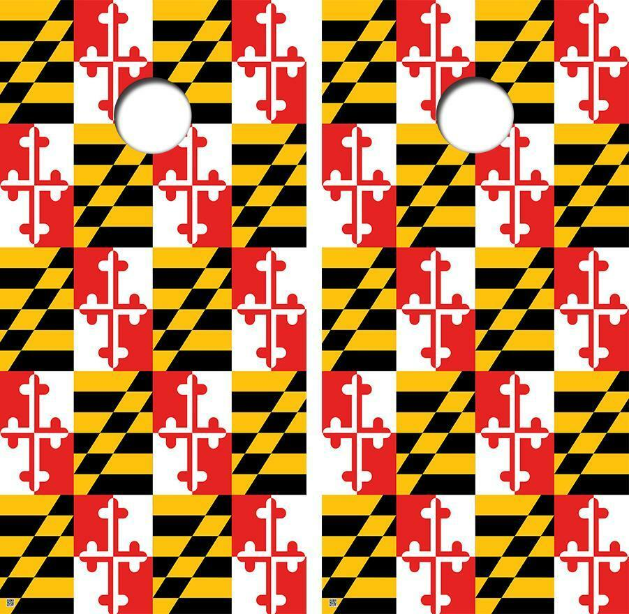 Maryland State Flag Overload Version Cornhole Board Skin Wrap FREE SQUEEGEE