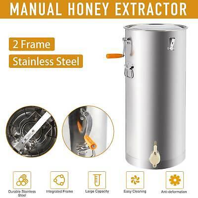 Frame Manual Honey Extractor Spinner Drum Hand Crank Beekeeping Honey Drum SS