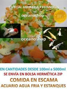 Comida a granel escamas peces de acuario agua fria y for Comida para peces de estanque