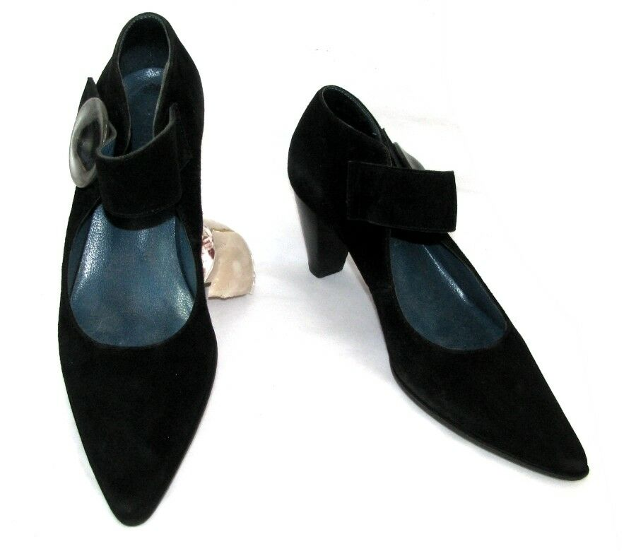 JB MARTIN shoes bride scratch cuir velours black 37 TRES BON ETAT
