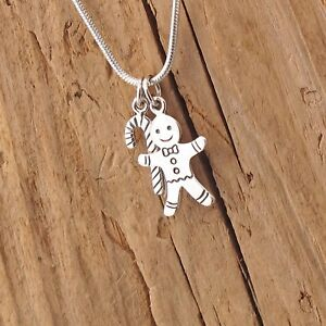 GENUINE 925 Sterling Silver Christmas Tree & Candy Cane Delicate Necklace UK New Fine Necklaces & Pendants