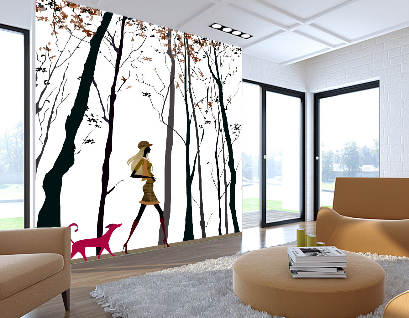 3D Graffiti branch puppy Wall Paper Print Decal Wall Deco Indoor wall Mural