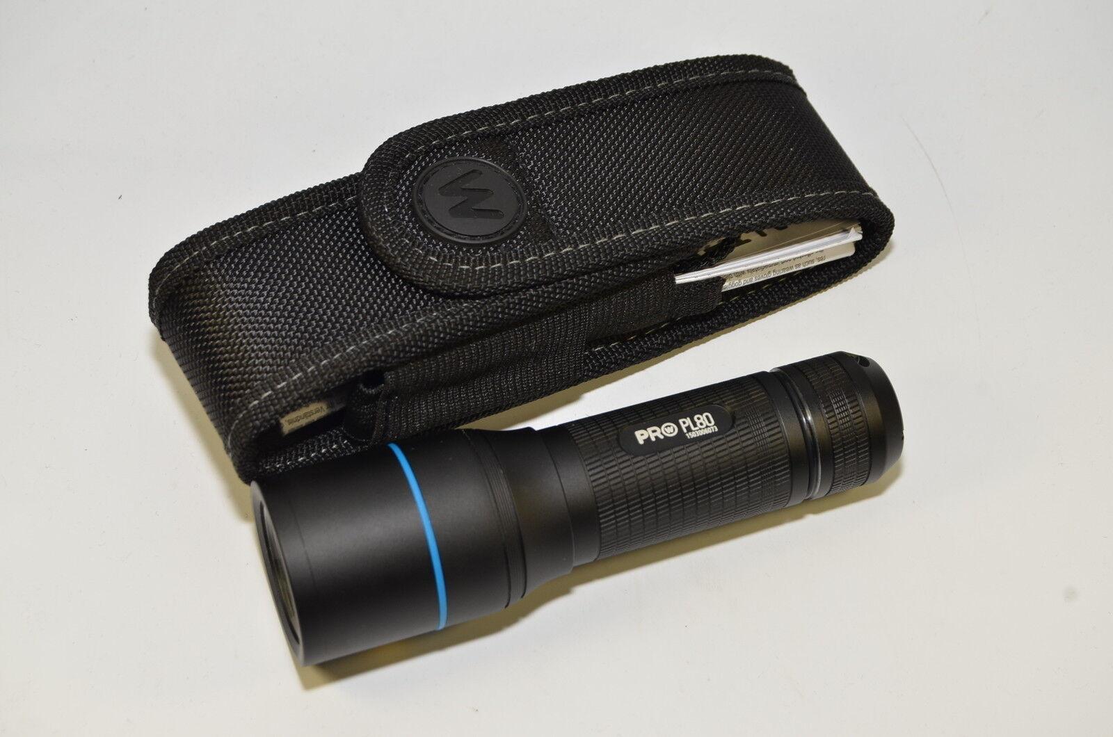 Walther Pro Pro Pro PL80 LED Taschenlampe 600 Lumen Set mit Signalkappen Wegrollschutz 940117
