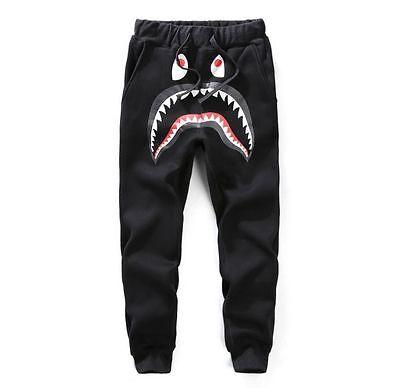 Men's Bape Shark Men's Unisex Sports Casual Cotton Sweat Pants trousers