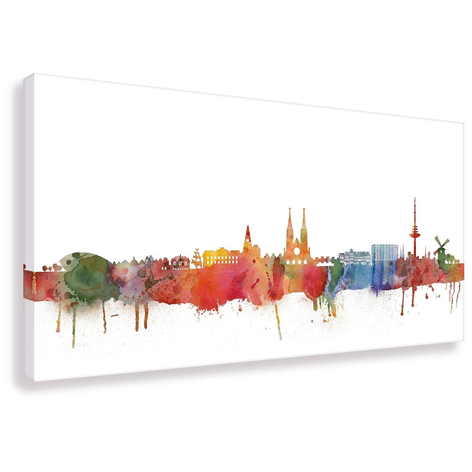 Panorama Wandbild von Bremen Skyline Light Kunstdruck Leinwand (div.Größen)