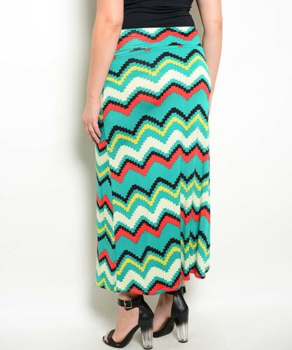 New Green Red Multi color Maxi Long Skirt Stretch Work Office Casual XL 2XL 3XL