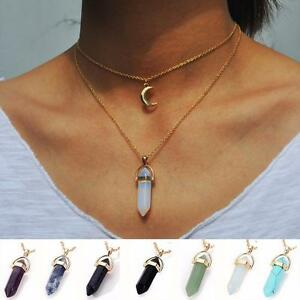 Usa crystal opals natural stone pendant necklace double layer image is loading usa crystal opals natural stone pendant necklace double aloadofball Images