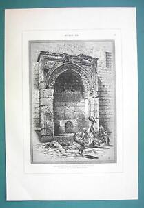 ISRAEL-Jerusalem-Fountain-of-Gate-of-Chain-Bab-Silsileh-1883-German-Engraving