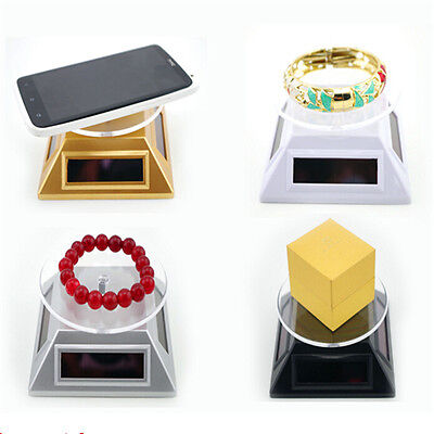 Best-chioce Solar Powered Rotating Phone Jewelry Display Stand Table Plate FT US