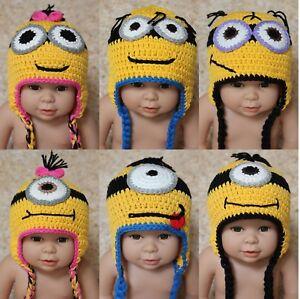 d17ce3ffb89db New Knit Crochet Infant Baby Kids Minions Hat Cap Beanie Newborn ...