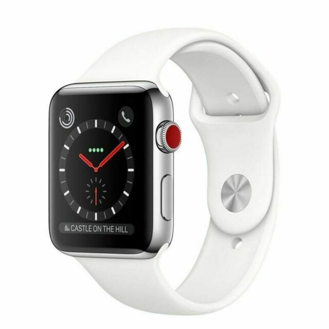 size 40 9b087 d5162 Apple Watch Series 3 42mm Space Black Stainless Steel Case with Black Sport  Band (GPS + Cellular) - (MQK92LL/A)