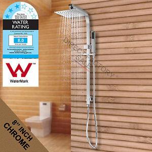 Square-8-039-039-200MM-Rain-Shower-Head-Set-Sliding-Brass-Rail-Diverter-Combination