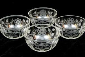 "Steuben Set 4 Vtg Engraved Glass Finger 5"" Dessert Bowls HTF Matches 6505 Goblet"